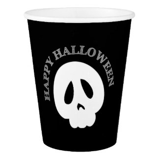 Black And White Happy Halloween Skull Paper Cup