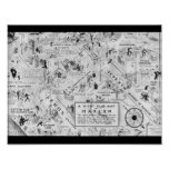 black and white harlem night clubs map poster