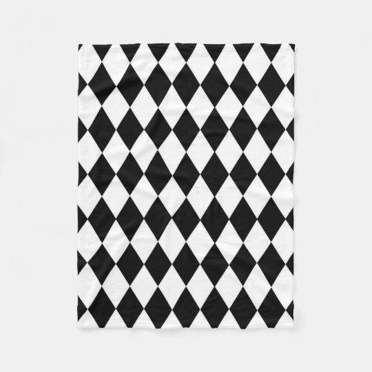 Black and White Harlequin Pattern Custom Fleece Blanket