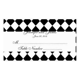Black and White Harlequin Wedding Place Card Pack Of Standard Business Cards