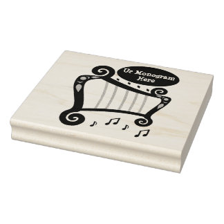 Black and White Harp Monogram Rubber Stamp