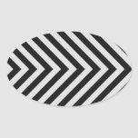 Black and White Hazard Stripes Textured Oval Sticker