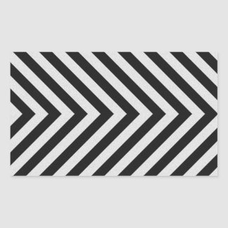 Black and White Hazard Stripes Textured Rectangular Sticker