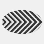 Black and White Hazard Stripes Textured Oval Sticker