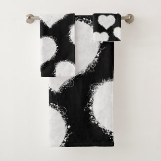 Black and White Heart Clouds Bath Towel Set