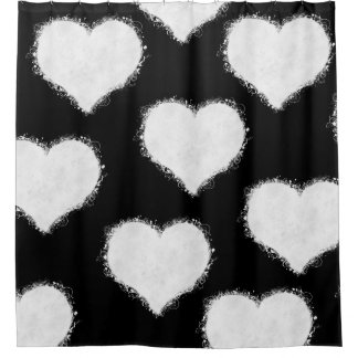 Black and White Heart Clouds Shower Curtain