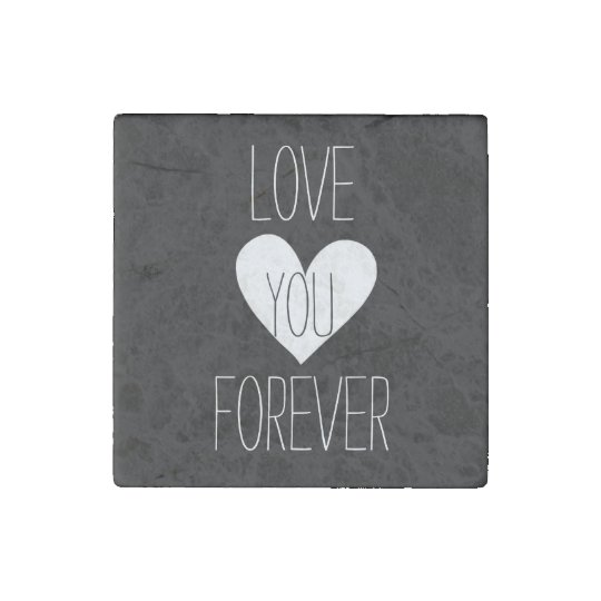 Black and White Heart Forever Stone Magnet