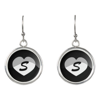 Black and White Heart Initial Earrings