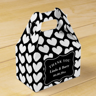 Black and white heart pattern custom wedding party favour box