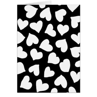 Black and White Heart Pattern Greeting Card