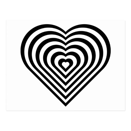 Black and White Heart Pattern Postcard