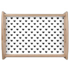Black and White Heart Pattern Serving Tray