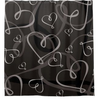 Black and white heart pattern shower curtain
