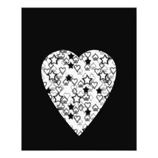 Black and White Heart. Patterned Heart Design. 11.5 Cm X 14 Cm Flyer