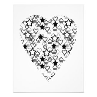 Black and White Heart. Patterned Heart Design. Flyers