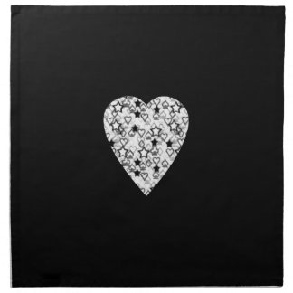 Black and White Heart. Patterned Heart Design. Napkin