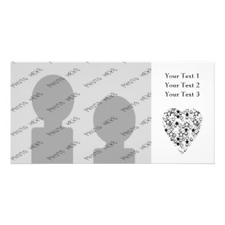 Black and White Heart Patterned Heart Design Photo Greeting Card
