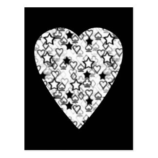 Black and White Heart. Patterned Heart Design. Postcard