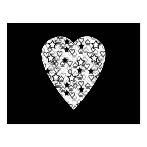 Black and White Heart. Patterned Heart Design. Postcards