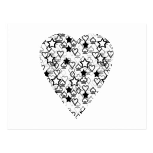 Black and White Heart. Patterned Heart Design. Post Card
