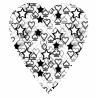 Black and White Heart. Patterned Heart Design. Standing Photo Sculpture