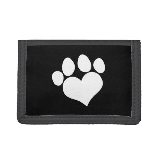 Black and White Heart Paw Print Tri-fold Wallet