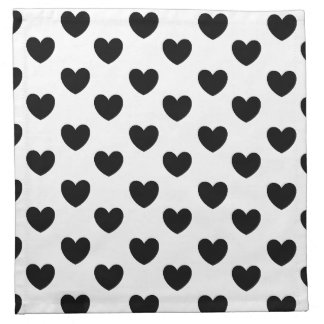 Black and White Heart Print Cloth Napkins