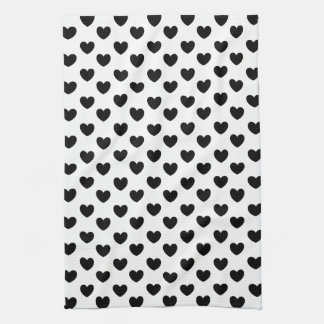 Black and White Heart Print Kitchen Towel