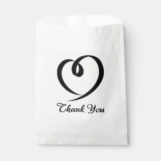 Black And White Heart Thank You Wedding / Party Favour Bags