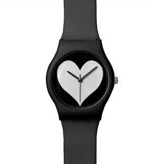 Black and White Heart Watch