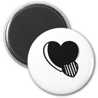 Black and White Hearts 6 Cm Round Magnet