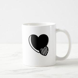 Black and White Hearts Basic White Mug
