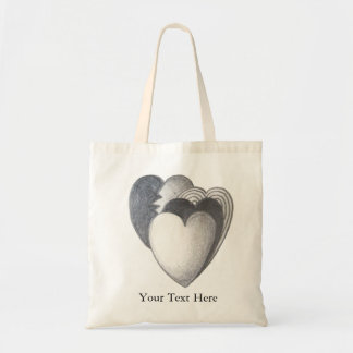 Black and white hearts original art illustration canvas bags