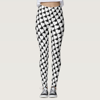 Black and white Hearts pattern Leggings