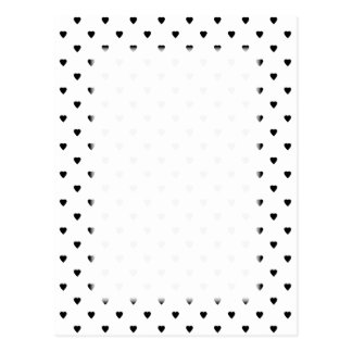 Black and White Hearts Pattern. Postcard