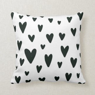 Black and White Hearts Pillow