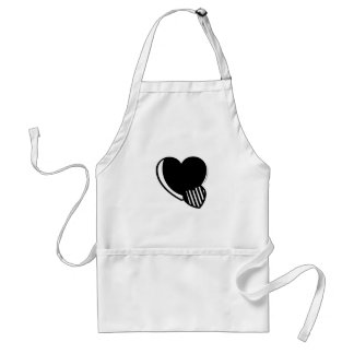 Black and White Hearts Standard Apron