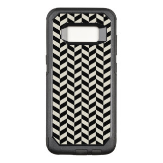 Black and White Herringbone Chevrons Pattern OtterBox Commuter Samsung Galaxy S8 Case