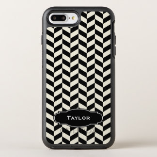 Black and White Herringbone Pattern with Monogram OtterBox Symmetry iPhone 8 Plus/7 Plus Case