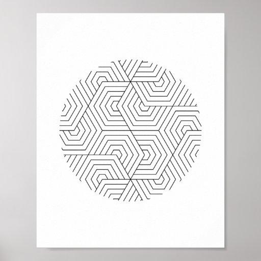 Black and White Hexagon Circle Geometric Wall Art