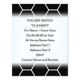 Black and White Hexagon Design. 11 Cm X 14 Cm Invitation Card