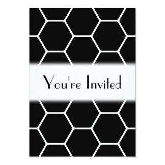 Black and White Hexagon Design. 13 Cm X 18 Cm Invitation Card