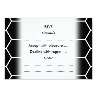 Black and White Hexagon Design. 9 Cm X 13 Cm Invitation Card