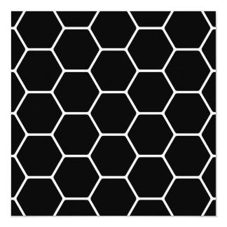 Black and White Hexagon Design. Personalized Invite