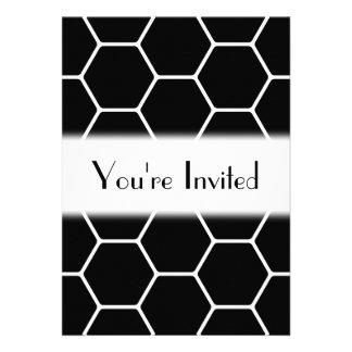 Black and White Hexagon Design Custom Announcement