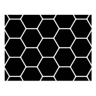 Black and White Hexagon Design. Postcard