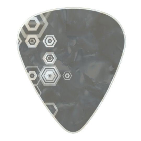 black and white hexagons guitar pic pearl celluloid guitar pick