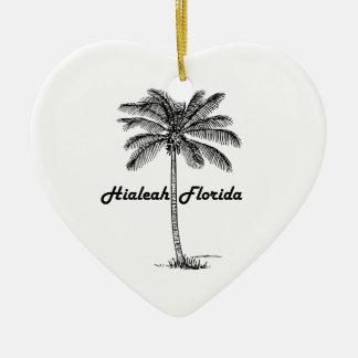 Black and White Hialeah & Palm design Ceramic Heart Decoration