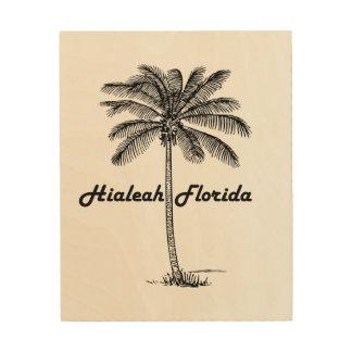 Black and White Hialeah & Palm design Wood Print