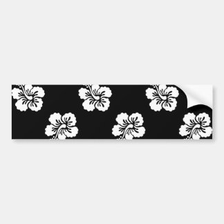 Black and White Hibiscus Floral Pattern Bumper Sticker